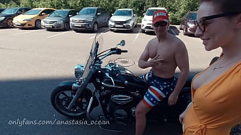 Naked girl on a motorcycle. Topless in the city. Emerald Ocean / Anastasia Ocean showing boobs outside 3 min