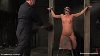 Chained brunette slave collecting piss