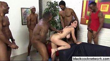 Interracial creampie with 7 black cocks