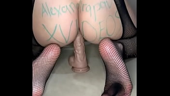 Amateur cute girl gets fucked by massive dildo