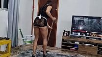Empregada PICKACHU  se ilude com aumento e leva pica  no cu de  pagamento. Alex Lima
