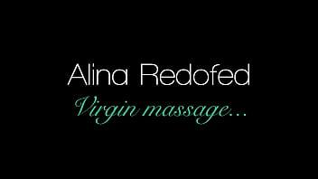 Brunette virgin babe Alina Redofed massaged