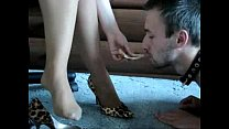Bossy Lady feeds her slave