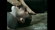 Wife's sweaty nyloned feet licked clean by the submissive husband
