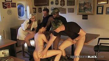 PrivateBlack - Dark Dicked Deck Officers Aliz And Abelia In BBC Orgy!