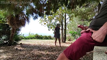 Dick flash - I pull out my cock in front of a young girl in the public park and she helps me cum - it's very risky - MissCreamy 6 min