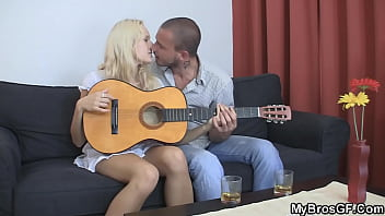 Blonde brothers girlfriend sucks and rides another cock
