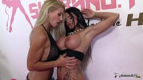 Two beautiful busty lesbians masturbating & licking pussy