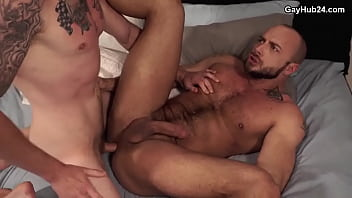 Bareback gay sex. Hot guy gets fucked hard