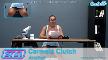 Camsoda News Network Reporter reads out news as she rides the sybian