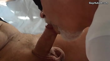 Daddy sucking small cock and gets cum in mouth