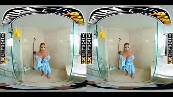 VIRTUALPORN.COM - Busty Blonde MILF Robbin Banx Seduces Step Son In Shower