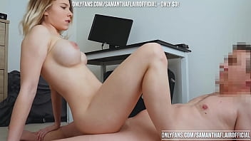 Boss cums on her face TWICE after fuck of his life - Samantha Flair