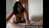 bbw gives a harsh handjob