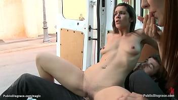 Little slut fucked in public places