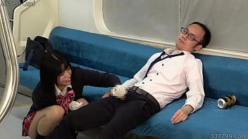 Naughty Japanese Girl Makes Him Ejaculate with Handjob