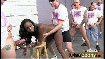 Ebony babe sucks and fucks several white dudes 14