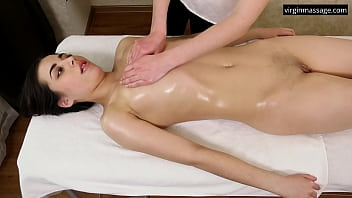 Jeanne Mathieu first time girl girl massaged on a table