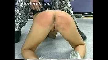 Beautiful hot horny slave with big tits got her pussy and asshole spanked by her fitness instructor
