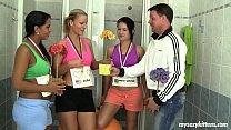 Sporty teens fucking coach in locker room