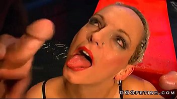 Blonde babe gives blowjob with cumswallow