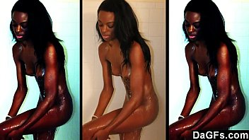 Dagfs - Skinny Ebony Caught While She Takes A Shower And Masturbates For The Camera