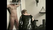 Milf slave jerksoff guy and got spanked on her well formed ass by her master in a dungeon bdsm