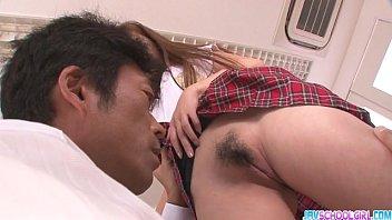 Horny asian schoolgirl blowjob and fucking