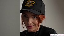 Lesbian cop scissoring with office crew