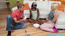 Ebony teenie butt pounded in a threesome