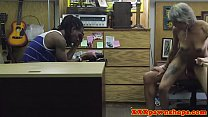 Ebony pawnshop amateur cuckolds her man