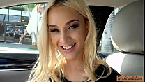 Seductive teen blonde hottie hitchhikes and gets pounded