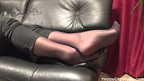 Stockinged footplay by mom