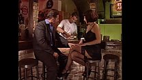 Sexy brunette in black stockings fucked in a bar by bartender