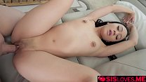 Stepbro pummels Jasmines Asian pussy and fuck her like a spreadeagle until he buirst his load inside her!