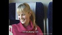 Czech streets Blonde girl in train