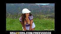 Sexy natural-tit brunette Karina White rides big-dick outdoors