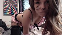 Cute girl having cat face has soft body and teases in front of camera