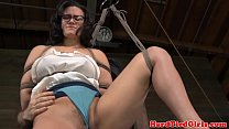 Vertical hogtied sub Penny Barber whip