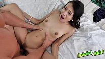 Jasmine Grey getting stuffed so hard like a spreadeagle by this horny daddy!