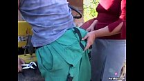 Granny takes young dick outdoor