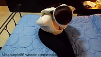 amateur bound and otm gagged on bed is struggling
