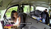 Female Fake Taxi Petite ebony cabbie with tiny shaven pussy fucks passenger