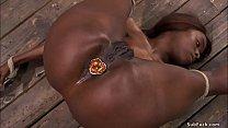Ebony slave is anal plugged and banged