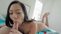 Asian teen Jasmine waits for her stepbro on the bed naked wanting his cock inside her mouth!