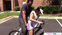 Busty petite teen cyclist rides big cock