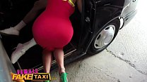 Female Fake Taxi Stud gives busty blonde milf a creampie on taxi bonnet