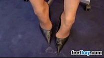 Footjob While Wearing Sexy High Heels