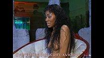 Ebony takes glass dildo up the butt