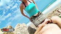 Fucking a skinny blonde slut in the ass on a public spanish beach
